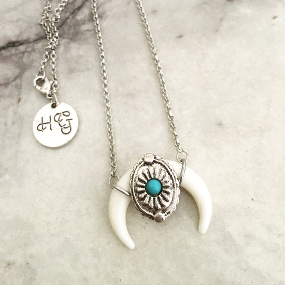 Image of Turquoise horn necklace