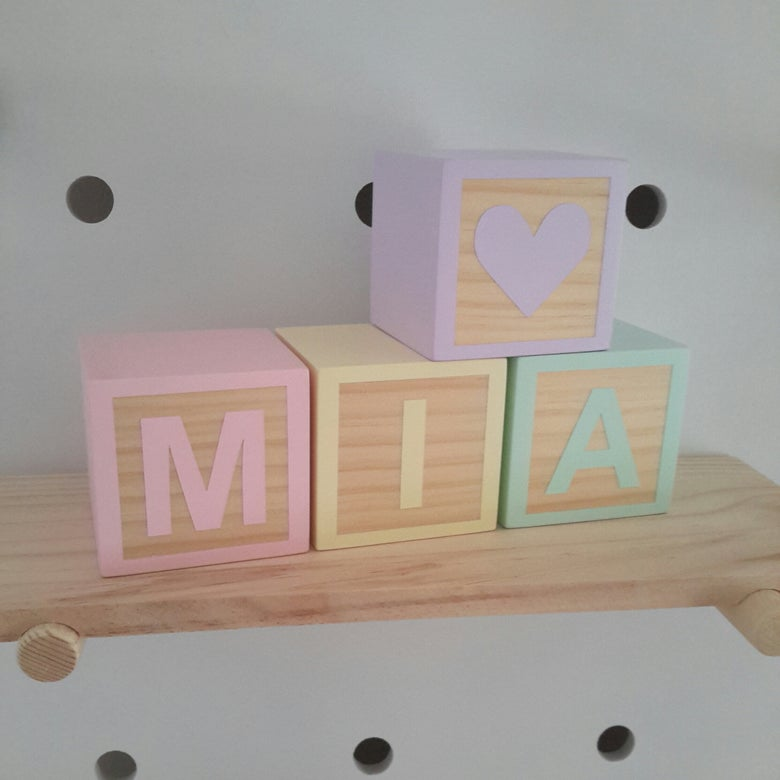 Image of Natural Timber 7cm Cube - Letter Name Blocks - Any Colour