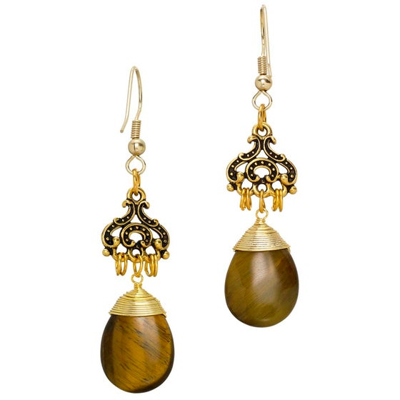 Image of TIGER EYE PENDANT EARRINGS