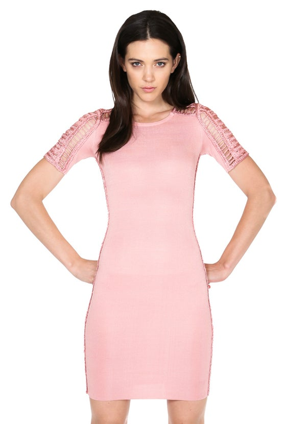 Image of Half Sleeve  crew neck bandage dress w/ crotchet details