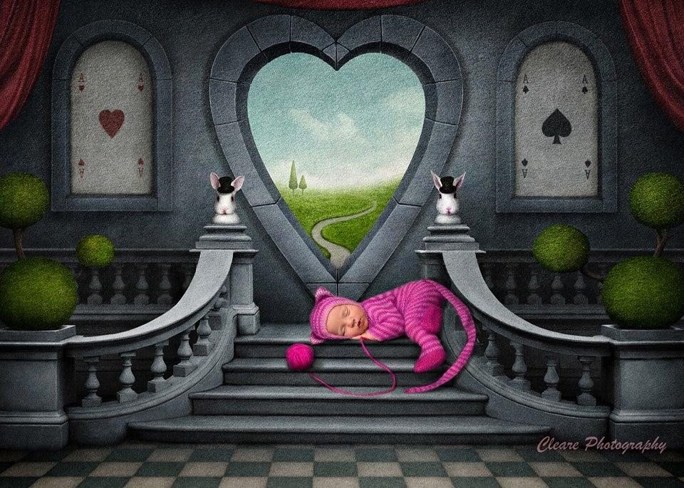 Image of Little Cheshire Cat Striped Jammy/Bonnet Set