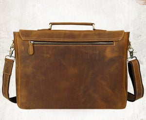 "Image of Men's Handmade Vintage Leather Briefcase / Messenger / 17"" MacBook Pro 16"" Laptop Bag (n14L-2)"