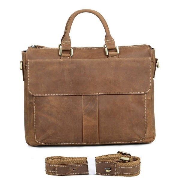 "Image of Vintage Handmade Crazy Horse Leather Briefcase Messenger 14"" 15"" Laptop / 13"" 15"" MacBook Bag (n79)"