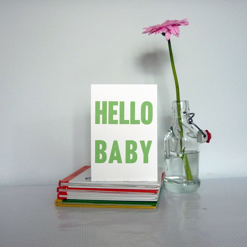 Image of Hello Baby greeting card - sprout green