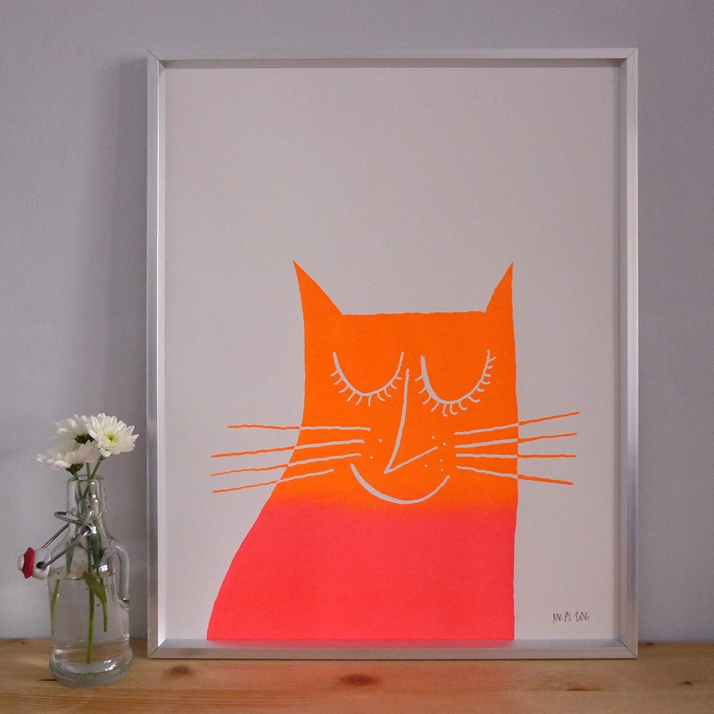 Image of Happy Tabby Cat screenprint on paper