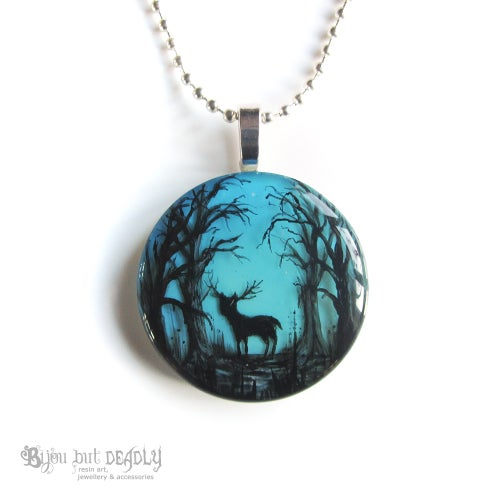 Image of Stag in Blue Enchanted Forest Pendant
