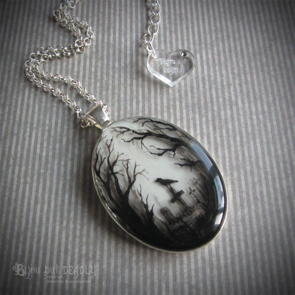 Image of Gloomy Wood Graveyard Silver Pendant