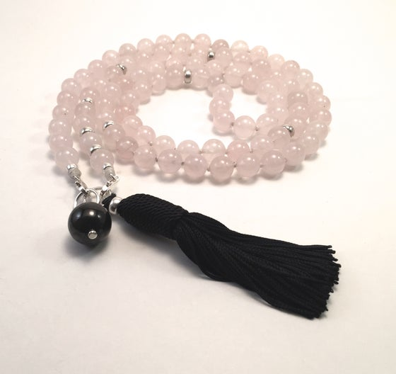 Image of Double Infinity Rose Quartz Mala 88