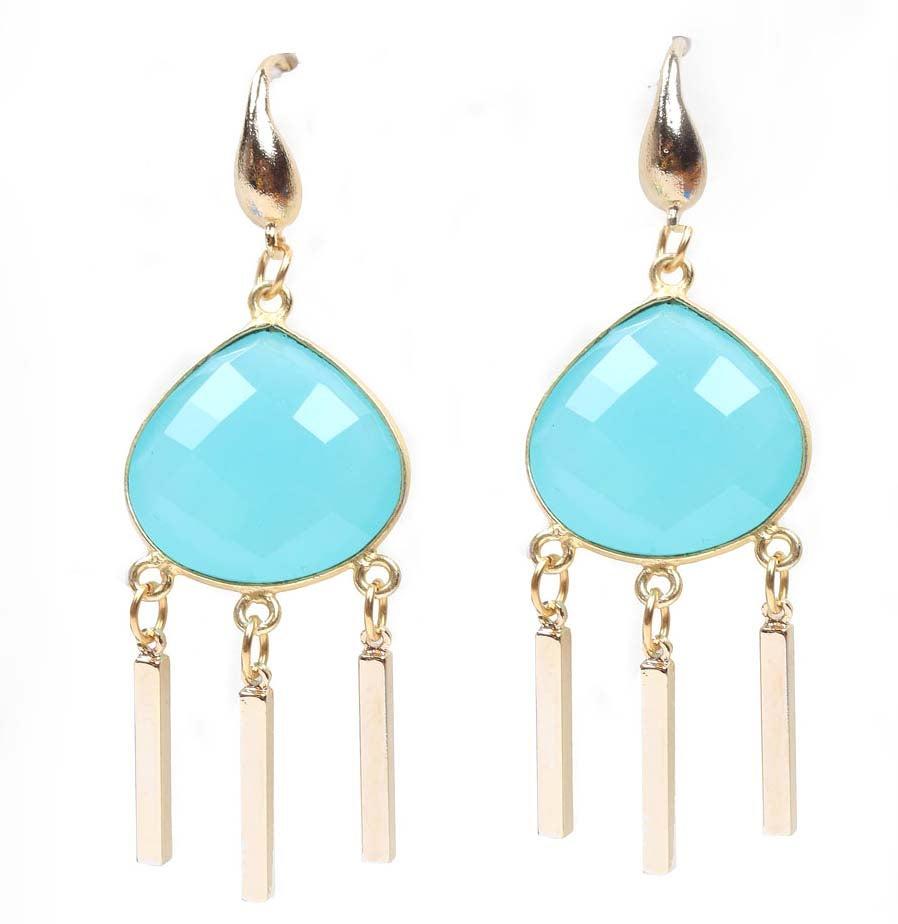 Aqua Droplet Chandelier Earrings Laceybonesjewelry