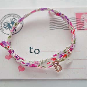 Image of Liberty print bracelet with bird and initial