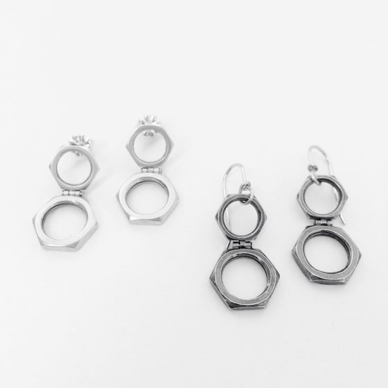Image of Hinged double nut earring