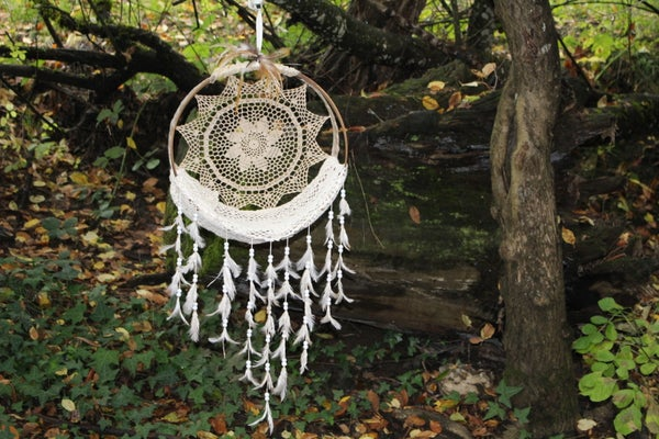 Image of Beautiful, Wispy, Newborn, Coffe Stained, Feather Dream Catcher with Wood Beads