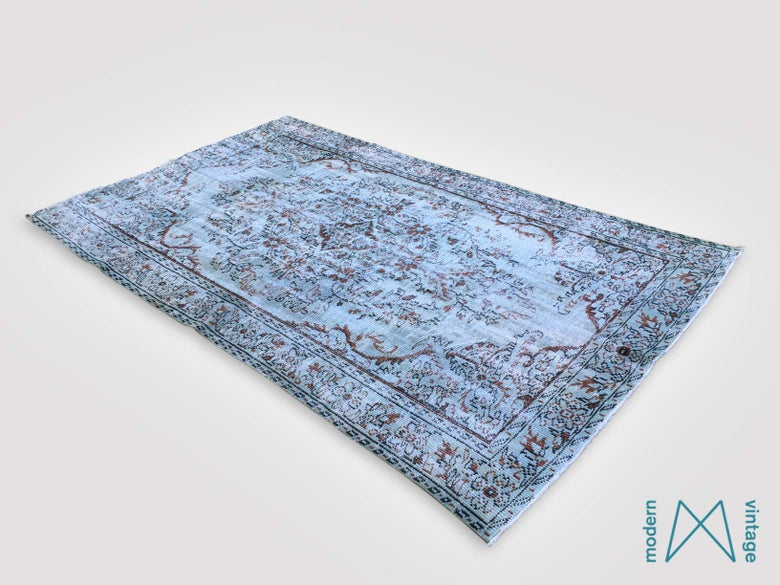 Image of Recoloured vintage persian rug in blue and brown