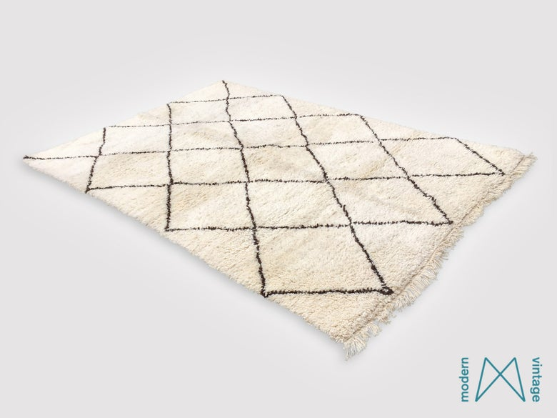 Image of Vintage Original Beni Rug Brown Triangles