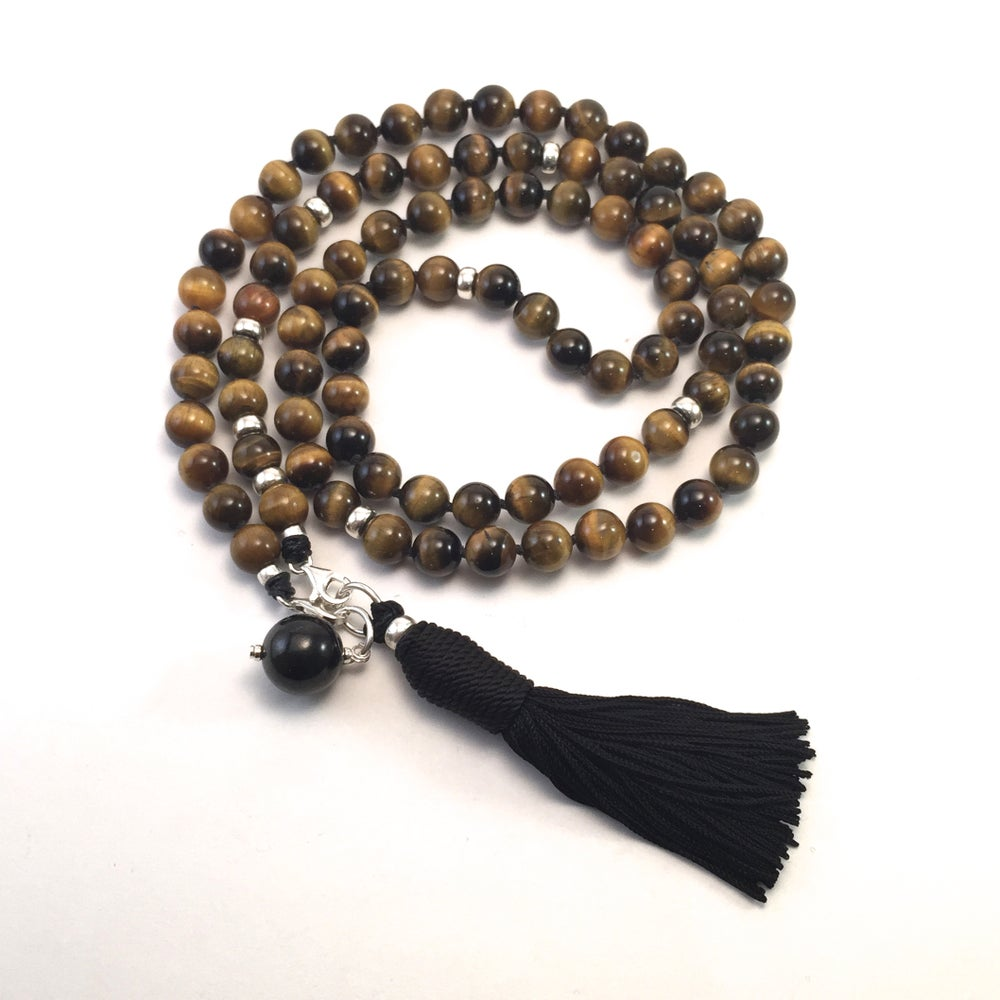 Image of Double Infinity Tigers Eye Mala 88