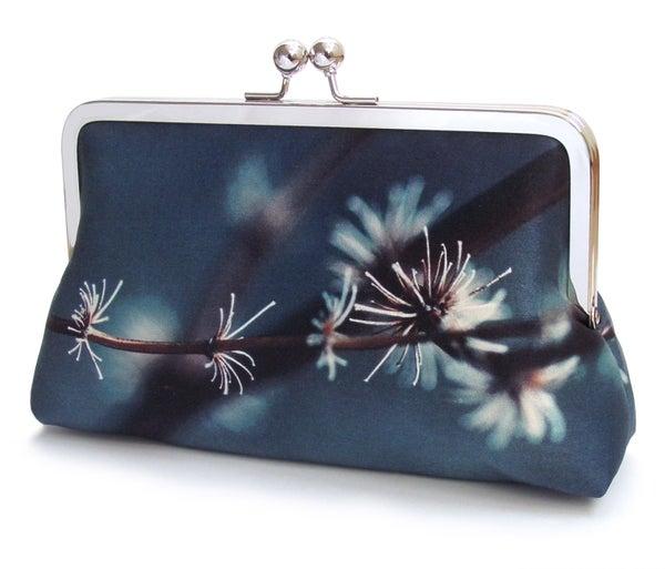 Silver twigs clutch purse, blue silk handbag - Red Ruby Rose