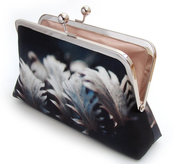 Silver leaves clutch bag, silk handbag - Red Ruby Rose