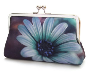 Daisy clutch bag, blue flower purse, printed silk handbag - Red Ruby Rose