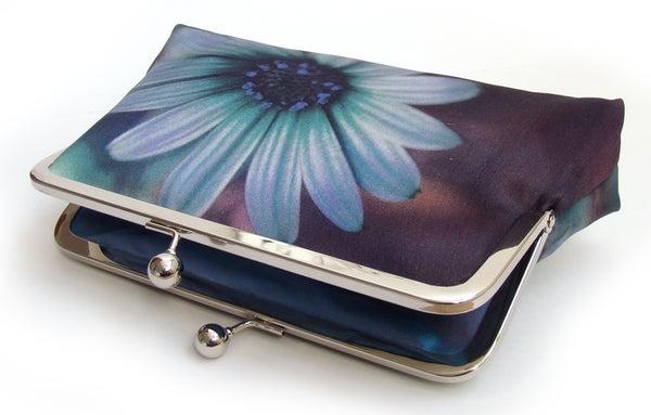 Daisy clutch bag, blue flower purse, printed silk handbag - Red Ruby Rose