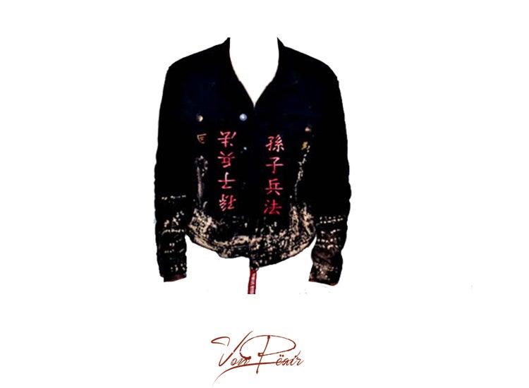 Image of Art Of War/ Black & Red Denim Jacket