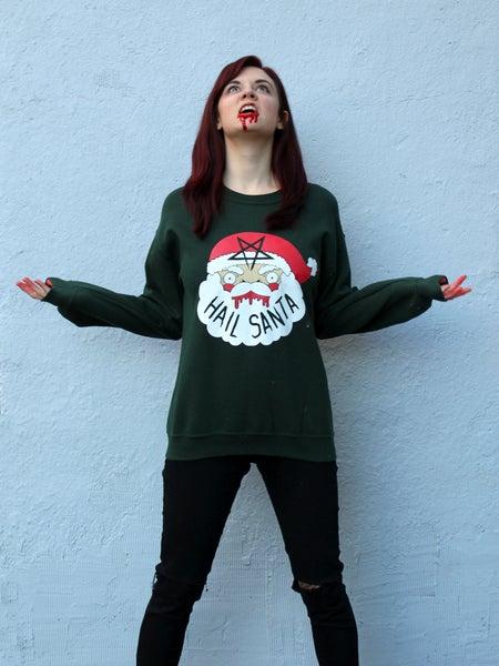 Image of SALE- Printed Hail Santa Sweaters