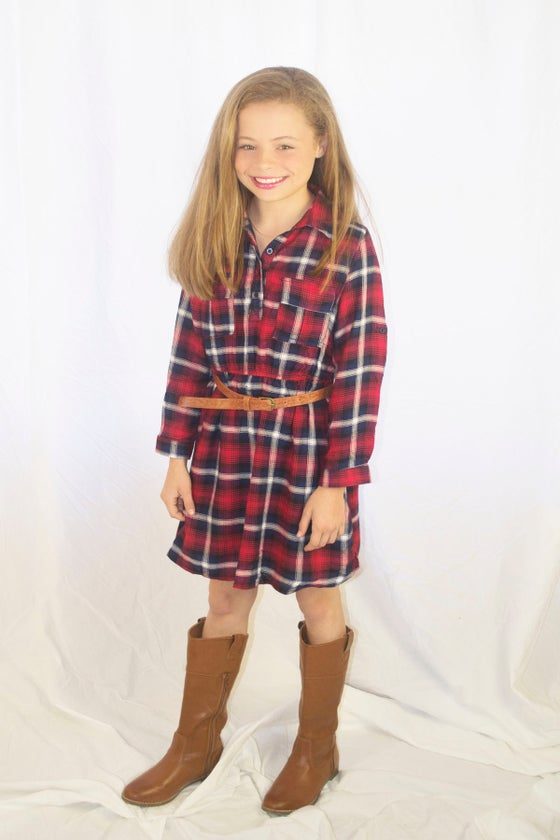 Image of Fall into Plaid Dress