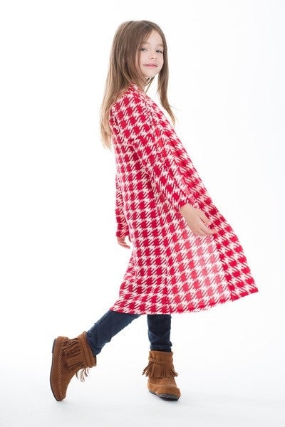 Image of Red Houndstooth Maxi Cardigan