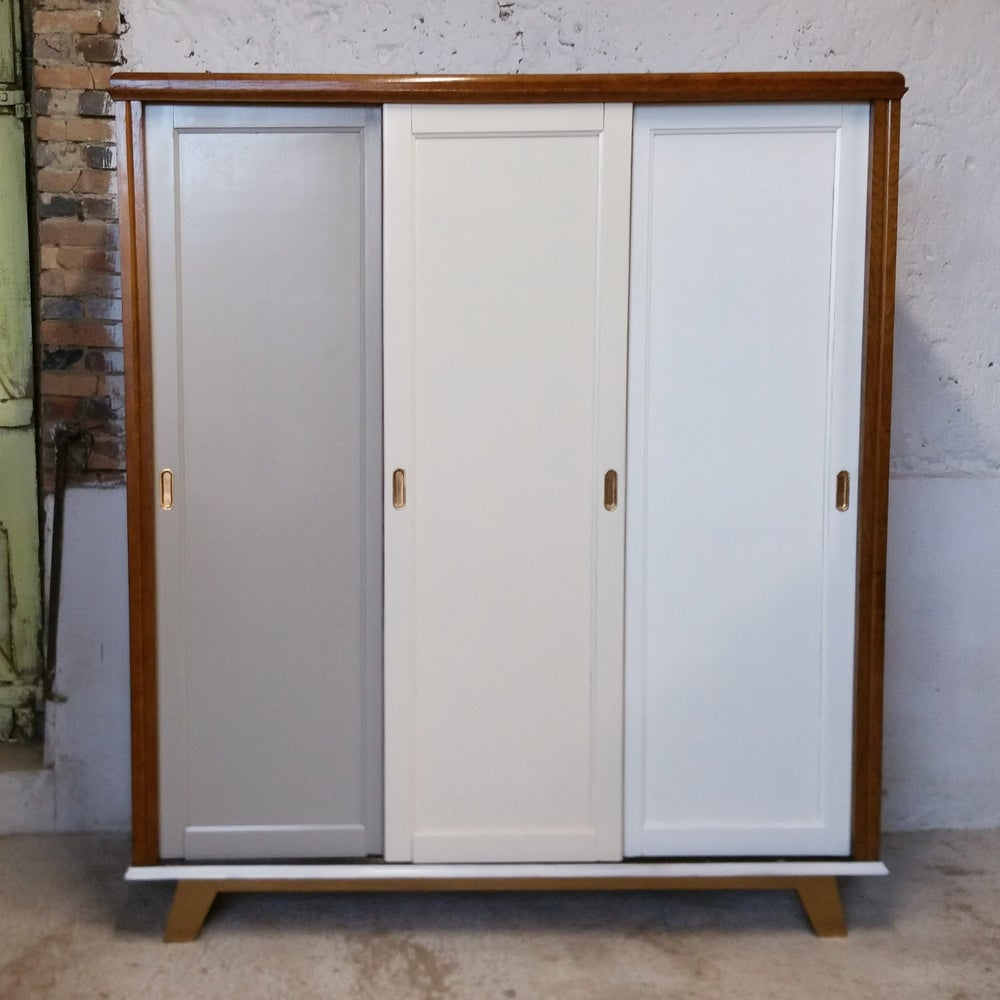 Armoire 3 portes coulissantes fibresendeco vannerie artisanale mobilier vintage - Armoire portes coulissantes but ...