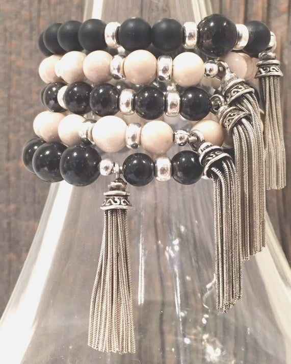 Image of Riverstone or Onyx & Silver Tassel