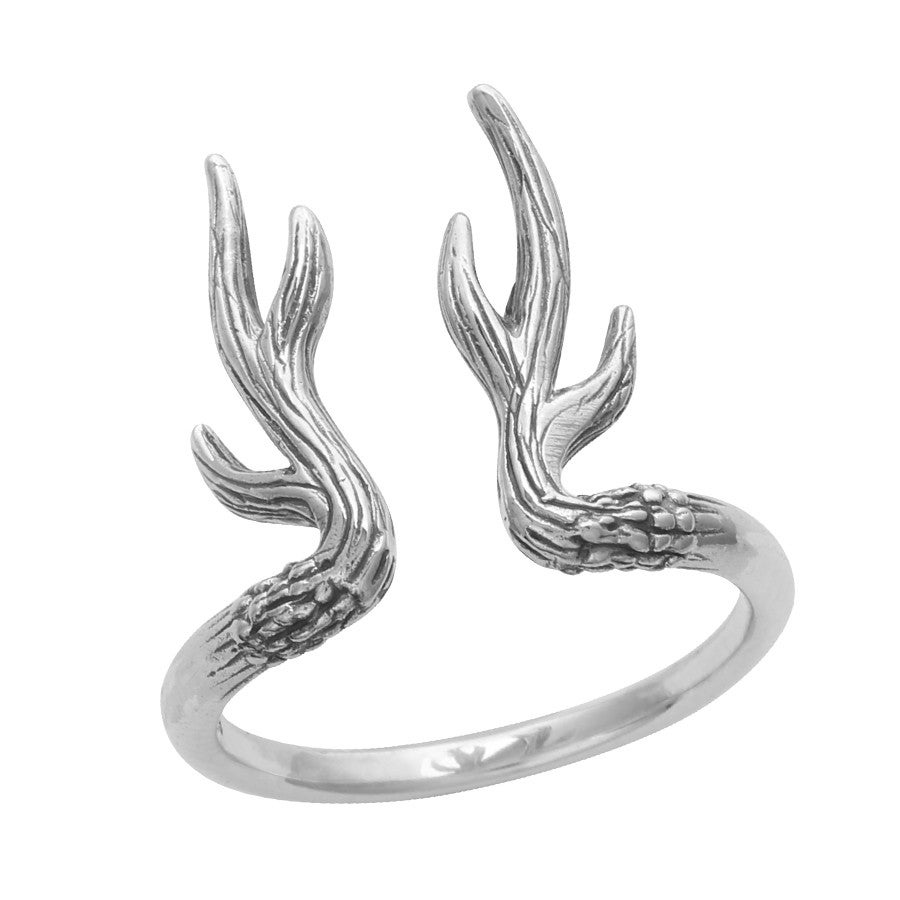 empty casket jewellery sterling silver antler ring