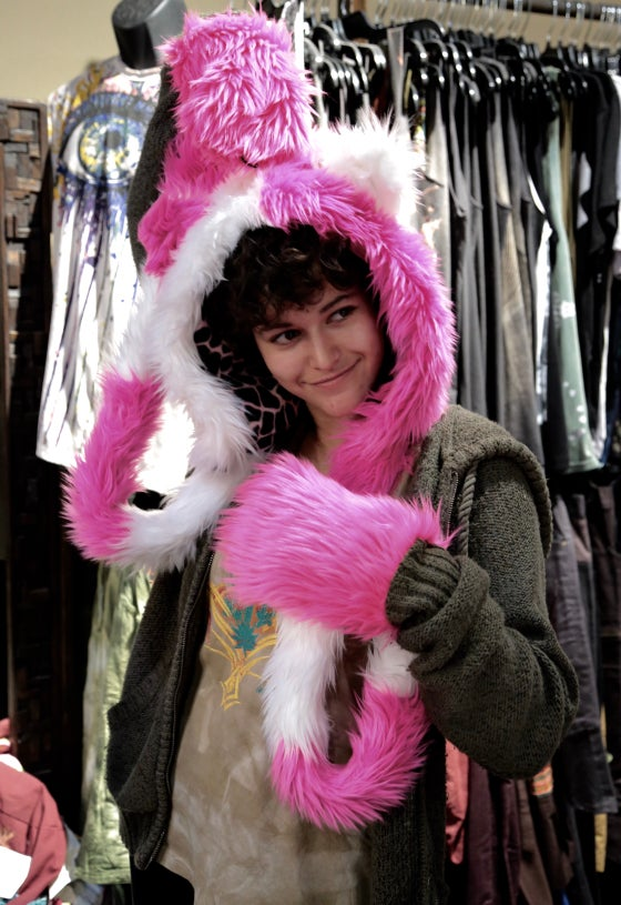 Image of Domino Paw Hood Fuchsia and White