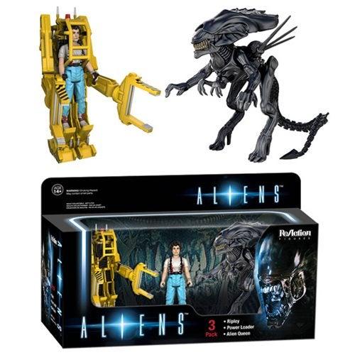 Image of Aliens 3 pack Alien Queen + Ripley + Power Loader Funko Reaction