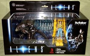 Image of Aliens 3 pack Alien Queen + Ripley + Power Loader Funko Reaction