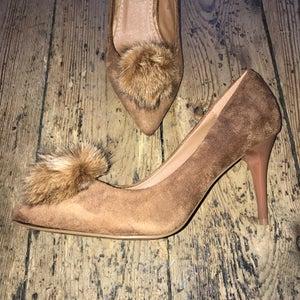 Image of Tan pompom heels