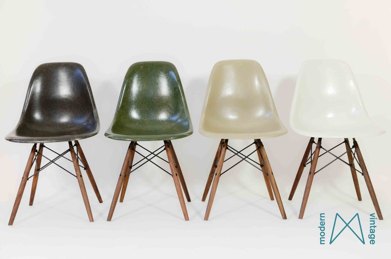 Image of Eames multicolor set Herman Miller Vitra DSW/DSX/DSR forest green greige off white charcoal