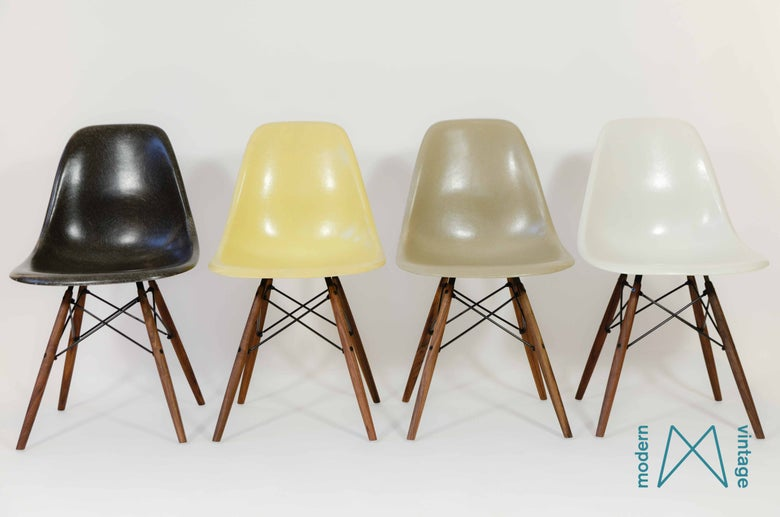 Image of Multicolor set DSW/DSR/DSX  Herman Miller Vitra greige, charcoal, lemon, off white
