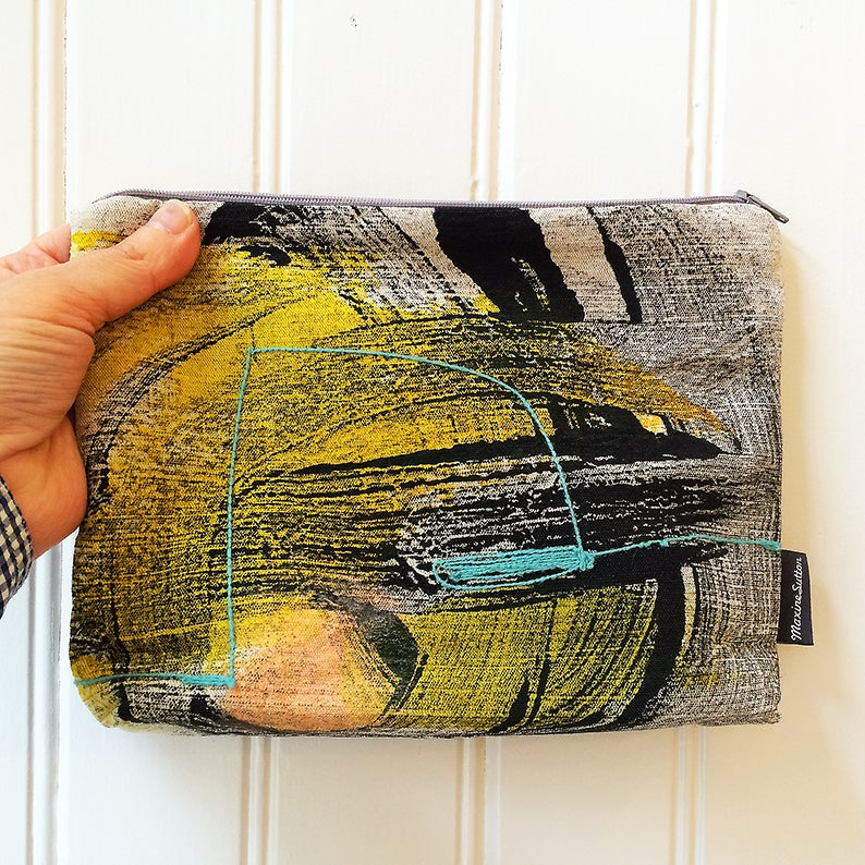 Image of Mono Print Embroidered Pouch