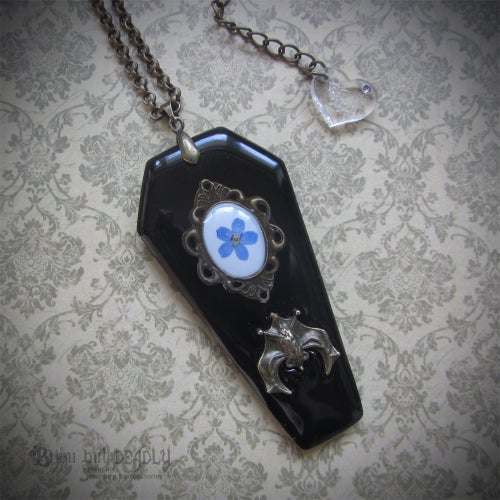 Image of Coffin Forget-me-not Cameo Pendant