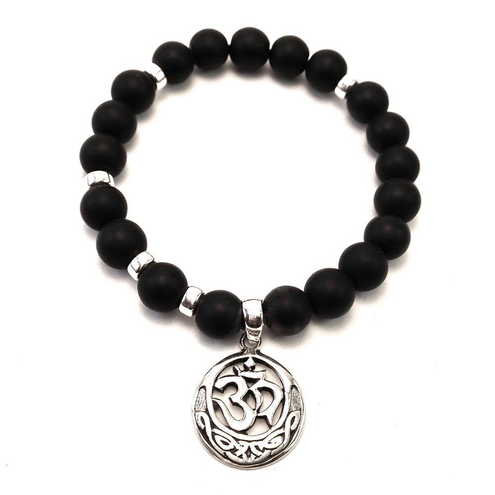Image of Infinity OM Wrist Mala Onyx