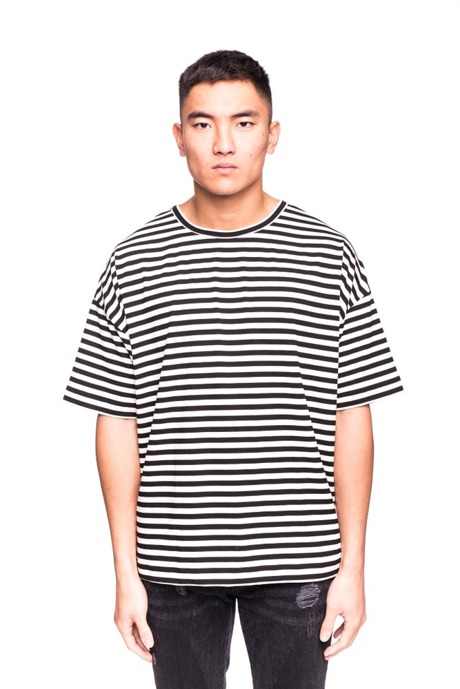 Image of OVERSIZED STRIPED T-SHIRT - OFF WHITE