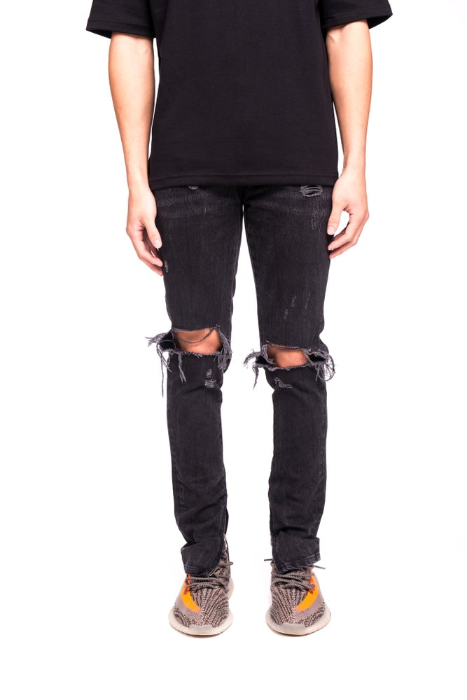 Image of BLOWN KNEE ZIP DENIM - VINTAGE BLACK