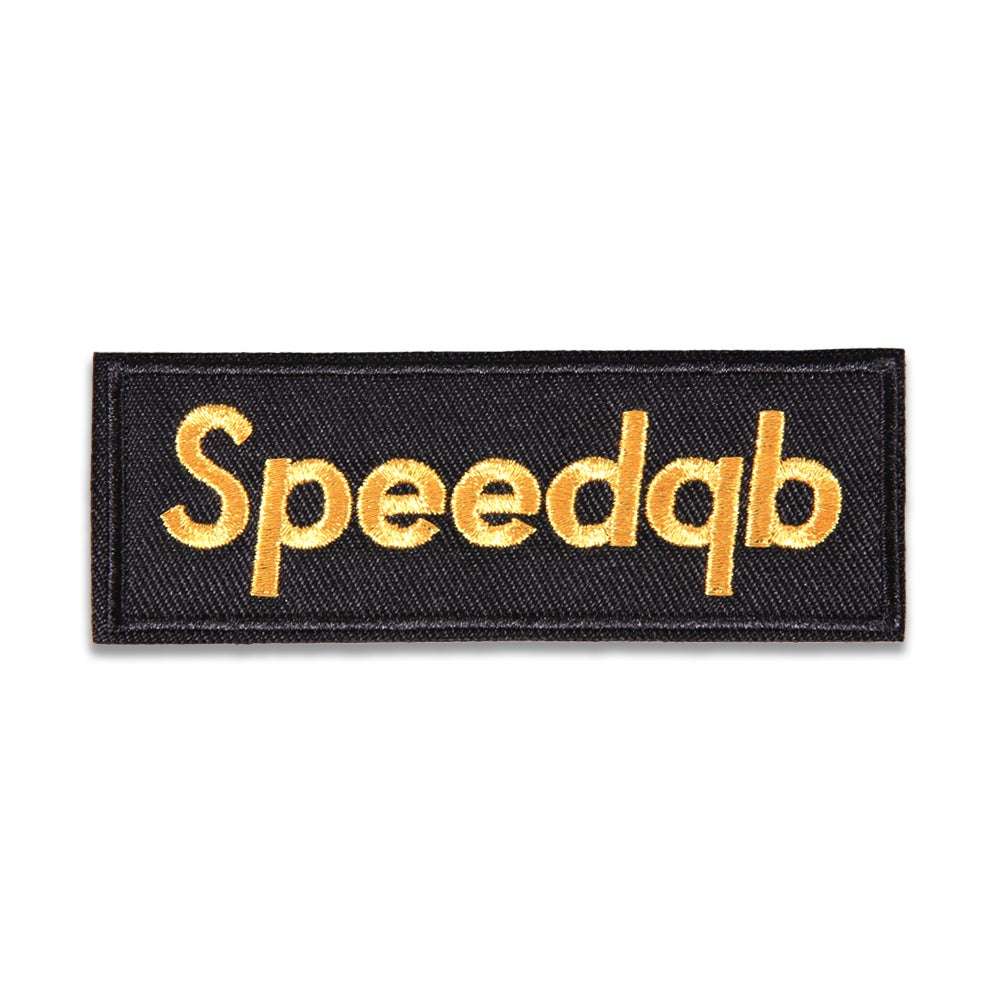 Image of SpeedQB Box Logo Patch - Black/Gold