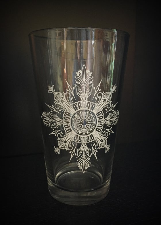 Image of Snowflake Mandala Pint Glass