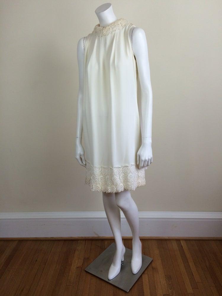 Image of ivory white chiffon mod minidress w/ chiffon cape & lace trim bridal 60s