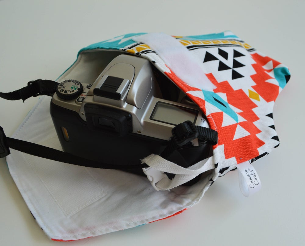 Image of Best Travel Camera Bag | Aztec Design Padded Fitted with Cotton Duck Water Repellent Fabric