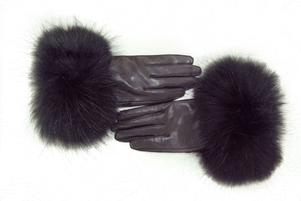 Image of Vienna Leather Raccoon Fur Gloves