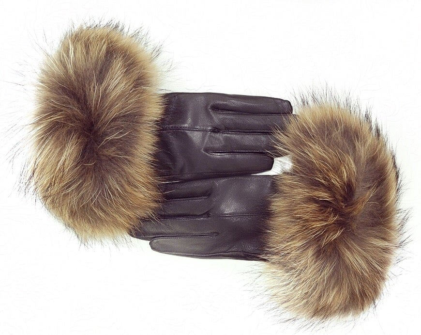 Image of Aspen Leather Raccoon Fur Gloves