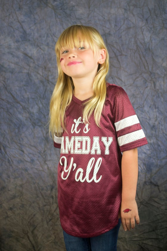 "Image of ""Game Day"" Jersey- COMES IN RAZORBACK RED"