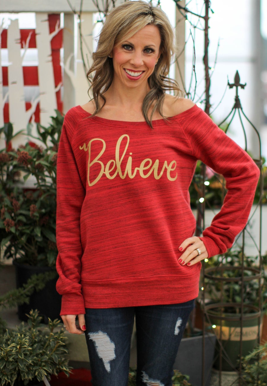 Image of BELIEVE Fleece Wide Neck Sweatshirt Red