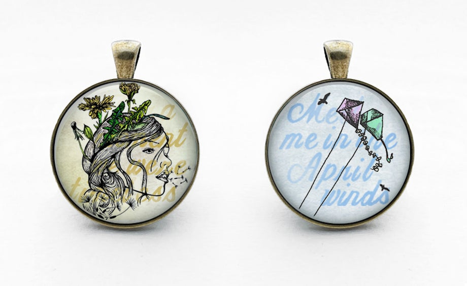 Image of Glass Lyric Pendants & Necklace Chain